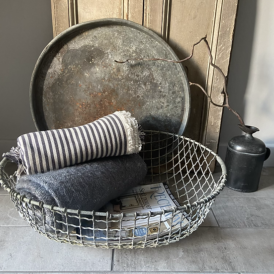 Large French Strong and Sturdy Metal Basket