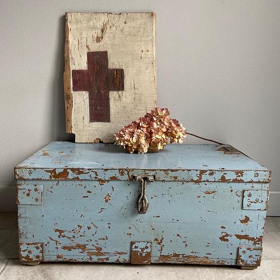Blue Chippy Paint Vintage Trunk