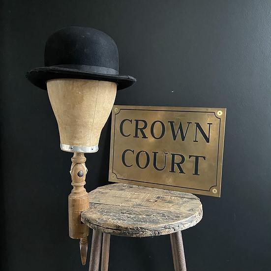 Vintage Brass Crown Court Sign