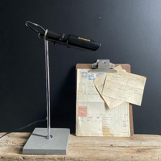 Vintage Scratch Built Singer Machinists Lamp