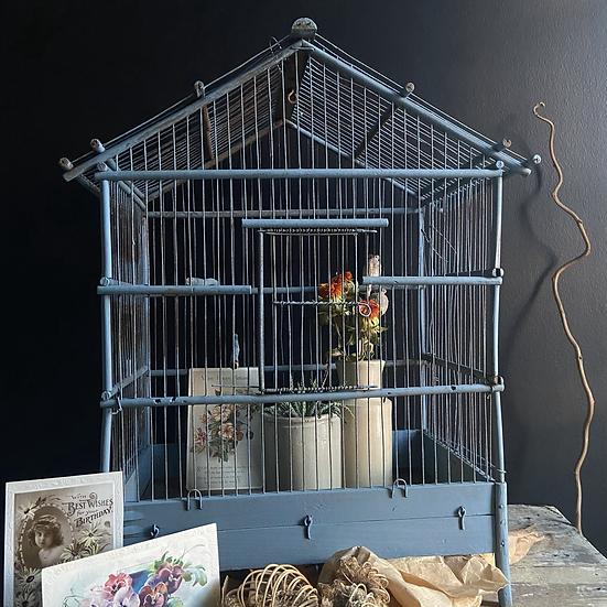 Large Blue Decorative Vintage Bird Cage
