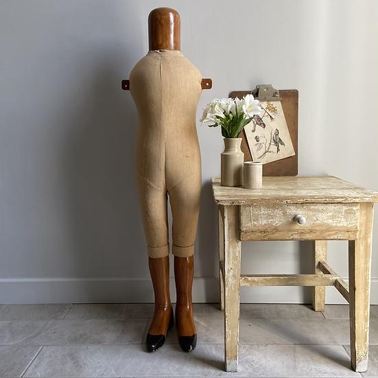Vintage Wood and Linen Child Mannequin