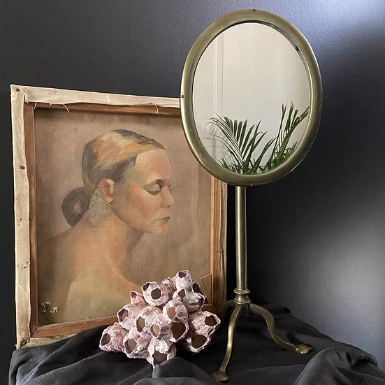 Rare Mahogany and Brass Tilting Adjustable Art Nouveau Shaving Mirror