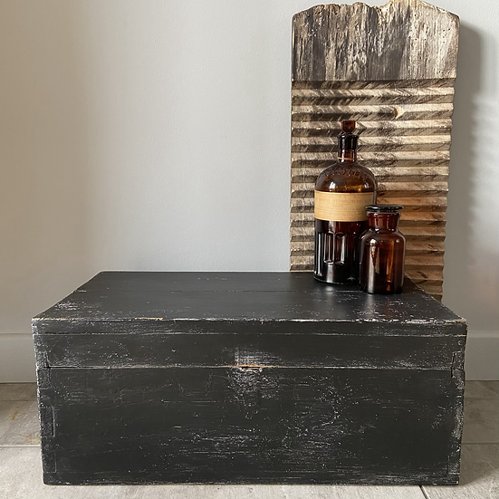 Small Black Chippy Paint Vintage Pine Chest