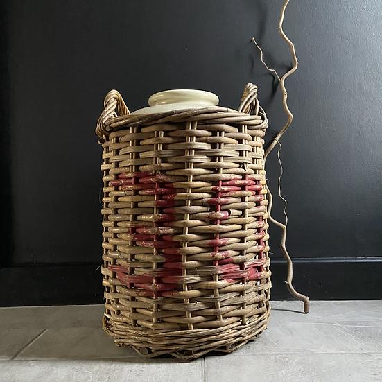 Huge British Vintage Stoneware Pot in Wicker Basket