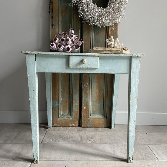 Cute Vintage Chippy Pale Blue Side Table