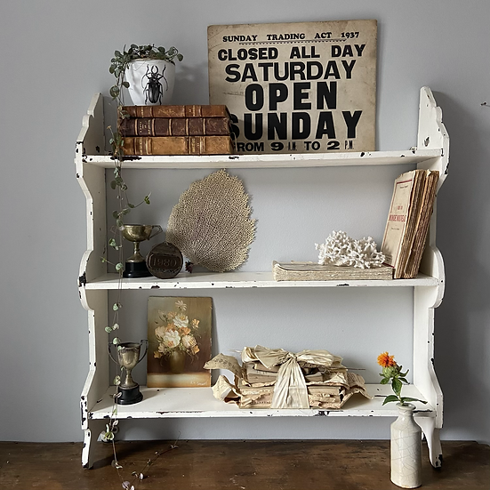 Large White French Chippy Wall Shelves