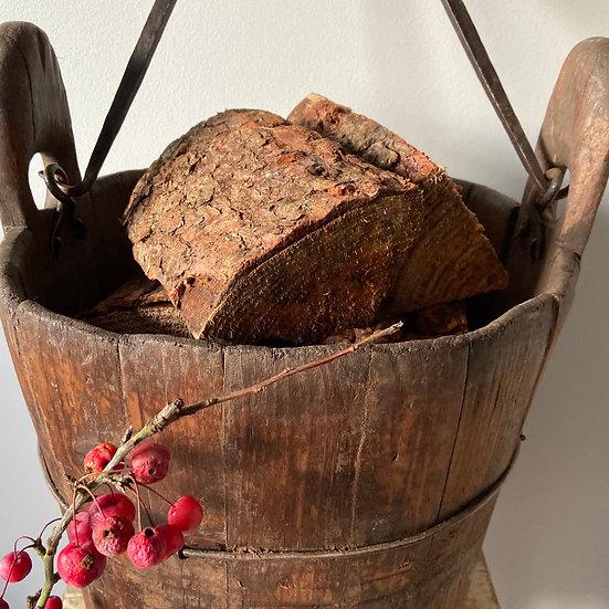Vintage Rustic European Wooden Well Bucket