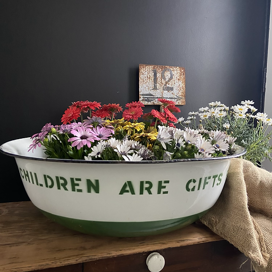 Vintage Large Enamel Baby Bath with Great Typography