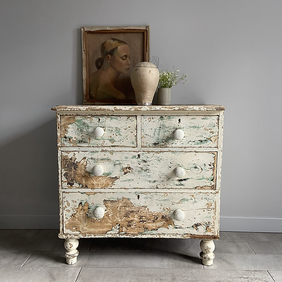 Beautiful White Chippy Paint Antique 2/2 Drawers