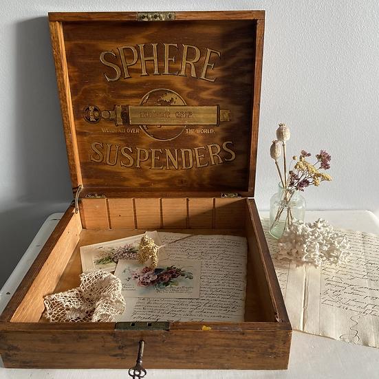 Rare Vintage Haberdashers Advertising Display Box with Original Key
