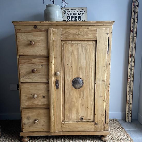 Fabulous Vintage Pine Larder Cupboard with Original Key