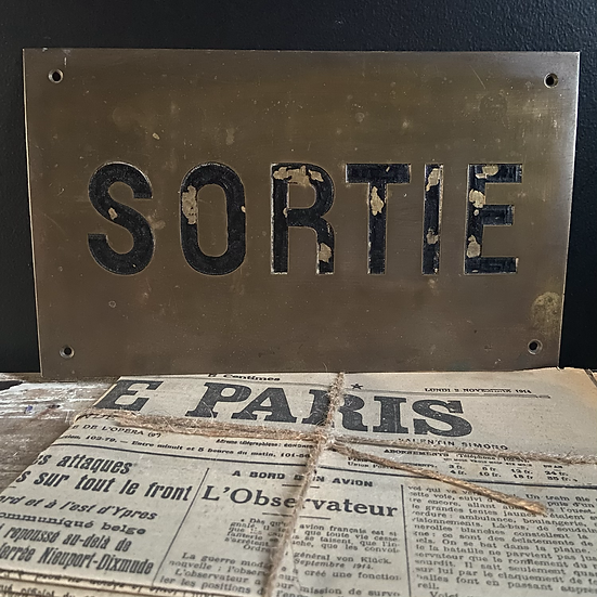Brass French SORTIE (EXIT) Sign