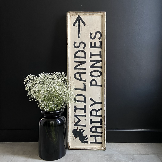 A Unique Double Sided Hand Painted Wooden Sign
