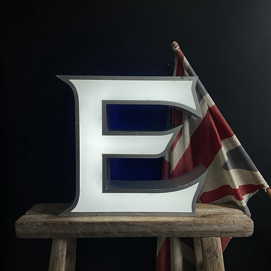 Large Vintage Illuminated Shop Sign Letter E