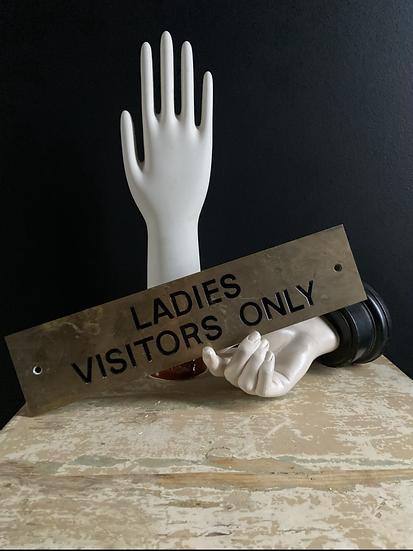 Vintage Brass Ladies Sign