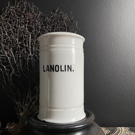 Vintage Ceramic Pharmacy Lanolin Canister