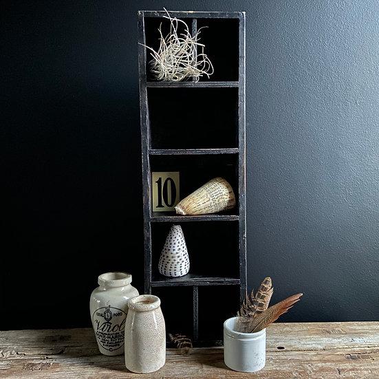 Ebonised Display Box, 3 Stoneware Bottles & #9