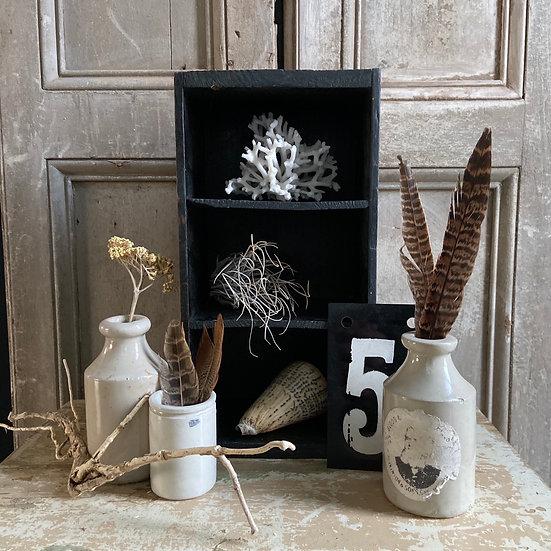 Vintage Wooden Display Box Including Stoneware Pots & Number 5