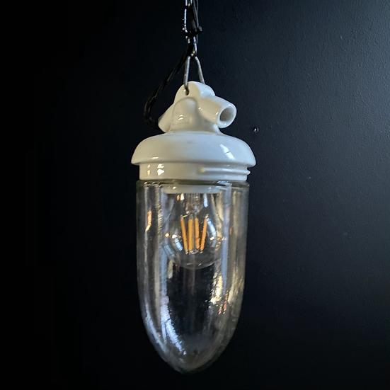 Vintage Ceramic Top Russian Industrial Pendant Light #1