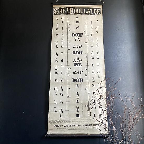 Antique J Curwen Linen Backed Singing Teaching Chart