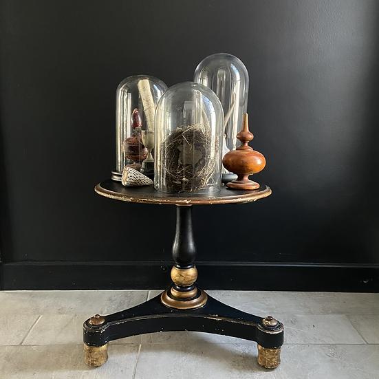 Rare Low Antique Circular Occasional Pedestal Table