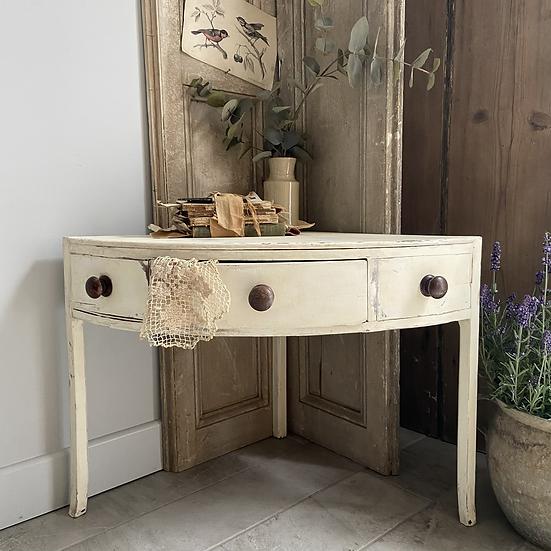 Vintage Swedish Corner Table with One Drawer