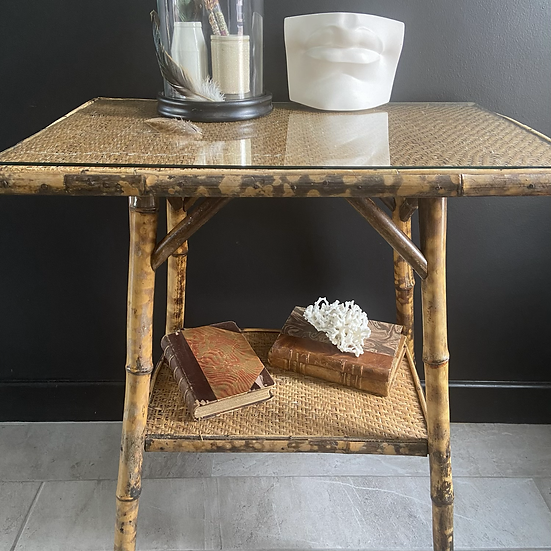 Large Victorian Tiger Bamboo Lamp Table