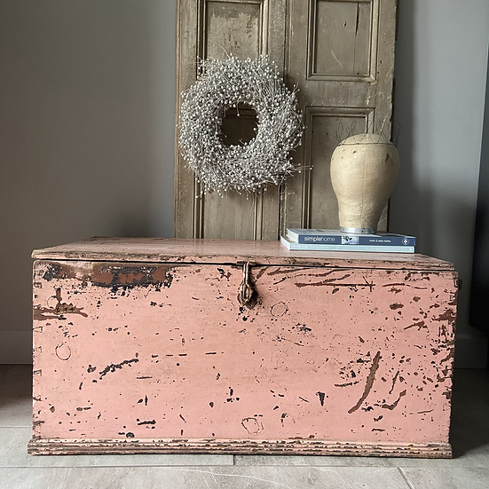 Beautiful Vintage Pink Chippy Paint Trunk