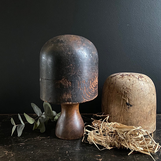 Vintage French Wooden Hat Block and Stand