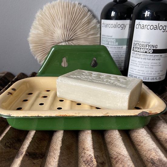 Green and Cream Vintage Enamel Wall Hung Soap Dish