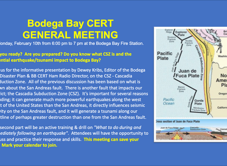 Bodega Bay CERT February General Meeting