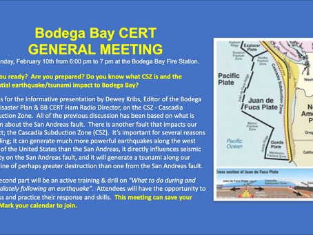 Bodega Bay CERT February General Meeting