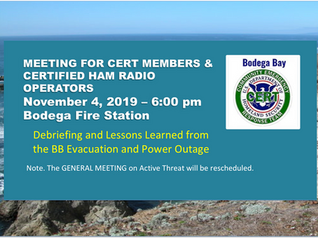 CERT/HAM Members meeting: Debriefing/Lessons Learned from BB Evacuation & Power Outage