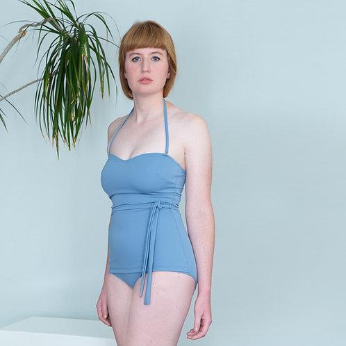 modern retro style swimsuit blue on model