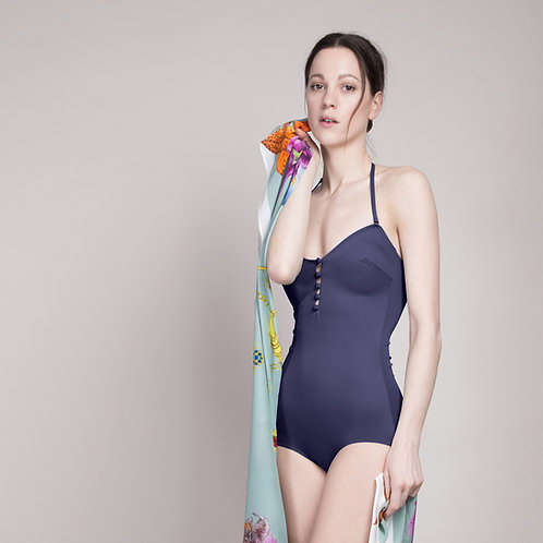 vintage style navy swimsuit on model