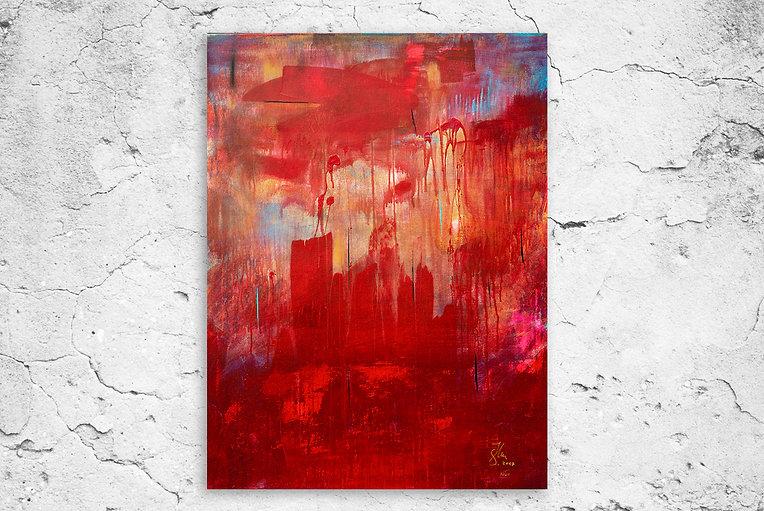 Blue skies and red sqares Artwork 2017 Sven Joerg Hansen