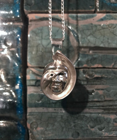 Laughing Duck Woman Pendant and Chain