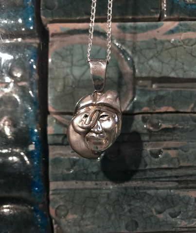Leaping Salmon and Man Pendant and Chain