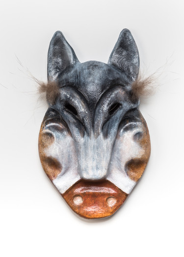 Man with Wolf Mask and Labrets