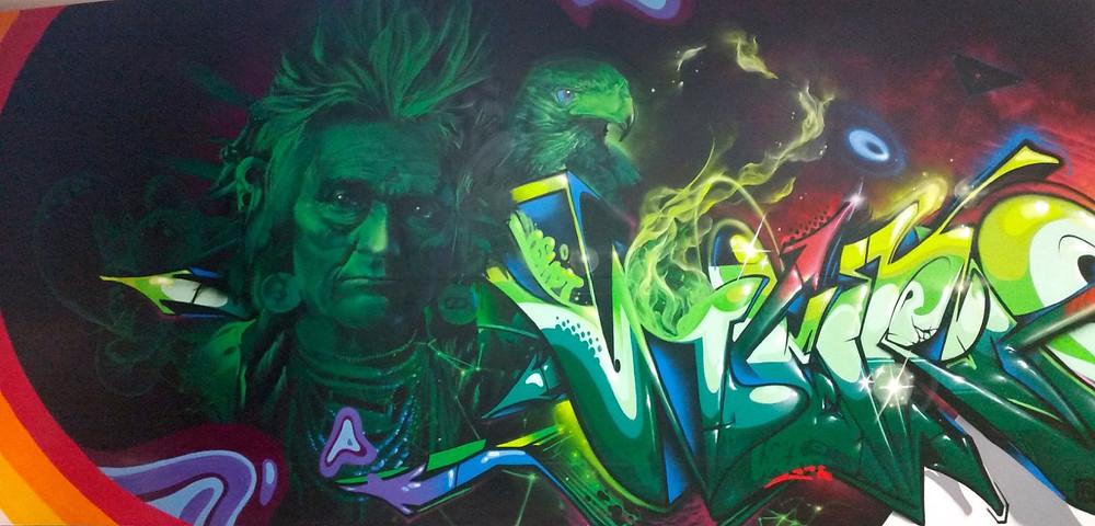 "Mural by Jeff Jacobson, AKA ""Weirdo"", located at Caviar Gold Washington"