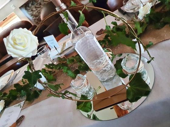 Centre de table cercle doré