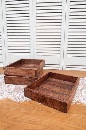 Plateau bois foncé carré