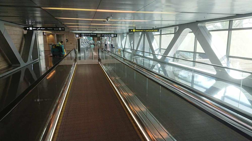 Как пройти в метро из аэропорта Дохи, Катар. Траволатор.