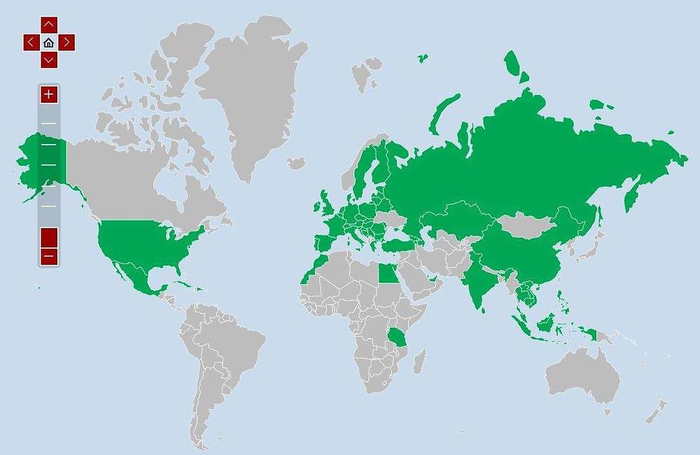 Посещенные мной страны на карте. Мои путешествия самобытно по миру.