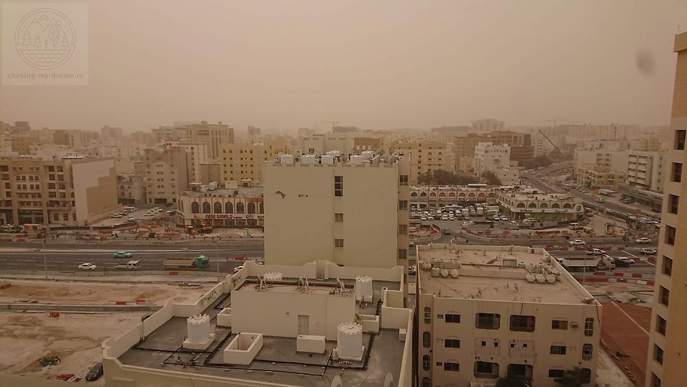 пыльная буря в Катаре - самобытно по миру