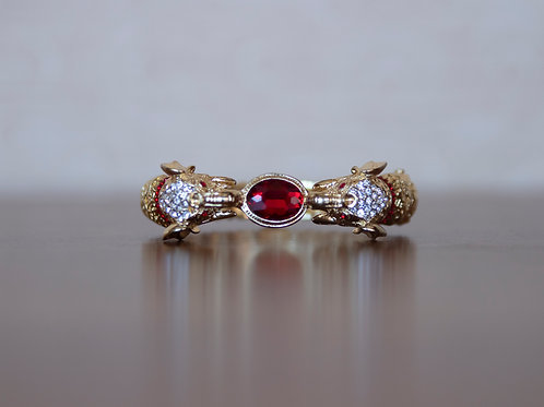 Elephant Simulated Ruby Belly Bracelet