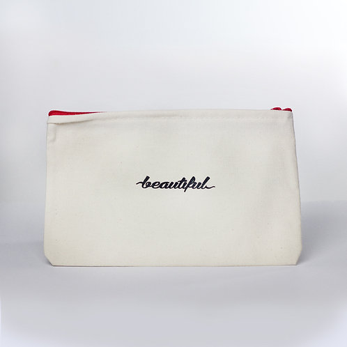 Cosmetic Pouch (Beautiful/Red Zipper)