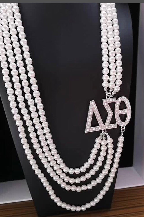Delta Sigma Theta Multilayer Pearl Necklace