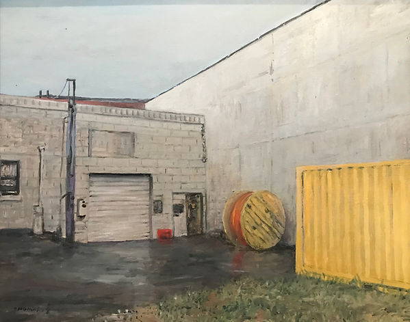 Warehouse, spool, yellow dumpster.jpg